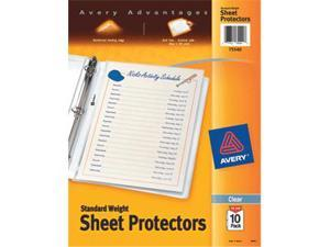 Avery Sheet Protectors Clear 8.5x11 10 Pk Standard 75540 Pack Of 12