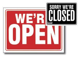 Bazic Products L-24-24 12 in. x 16 in. Open Sign with Closed Sign on Back - Box of 24