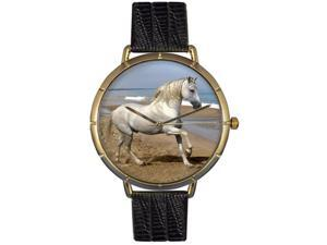 Andalusian Horse Black Leather And Goldtone Photo Watch #N0110021