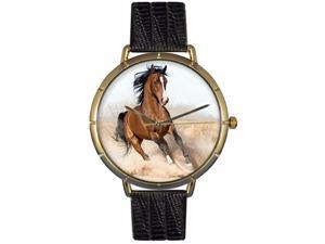 Arabian Horse Black Leather And Goldtone Photo Watch #N0110023
