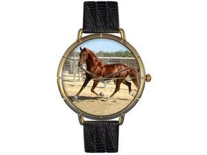 Whimsical Watches N0110024 American Saddlebred Horse Black Leather And Goldtone Photo Watch