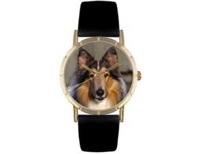 Collie Black Leather And Goldtone Photo Watch #P0130004