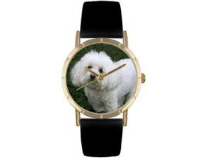 Bichon Black Leather And Goldtone Photo Watch #P0130010