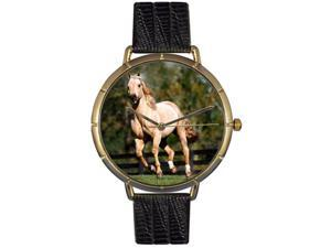 Quarter Horse Black Leather And Goldtone Photo Watch #N0110030