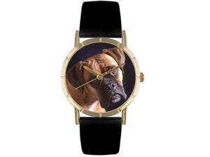 Boxer Black Leather And Goldtone Photo Watch #P0130014