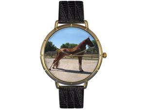 Tenessee Walker Horse Black Leather And Goldtone Photo Watch #N0110031