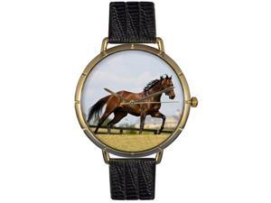 Thoroughbred Horse Black Leather And Goldtone Photo Watch #N0110032