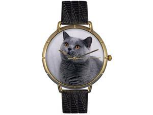 Russian Blue Cat Black Leather And Goldtone Photo Watch #N0120029
