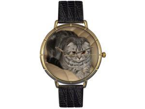 Scottish Fold Cat Black Leather And Goldtone Photo Watch #N0120031