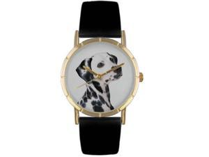 Dalmatian Black Leather And Goldtone Photo Watch #P0130031