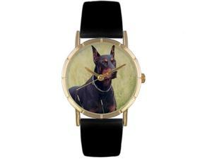 Doberman Black Leather And Goldtone Photo Watch #P0130035