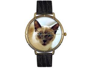 Whimsical Watches N0120055 Siamese Cat Black Leather And Goldtone Photo Watch