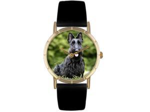 Scottie Black Leather And Goldtone Photo Watch #P0130067