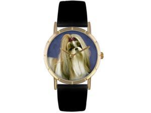 ShihTzu Black Leather And Goldtone Photo Watch #P0130069
