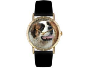 Saint Bernard Black Leather And Goldtone Photo Watch #P0130070