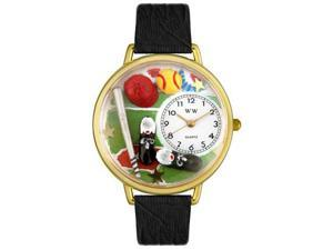 Whimsical Watches G0820022 Softball Black Skin Leather And Goldtone Watch