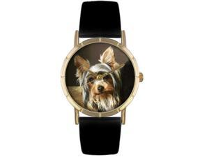 Yorkie Black Leather And Goldtone Photo Watch #P0130077