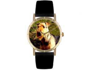 Airedale Terrier Black Leather And Goldtone Photo Watch #P0130079