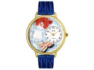 Whimsical Watches G0220004 Vintage Raggedy Ann Royal Blue Leather And Goldtone Watch