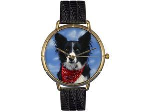 Border Collie Black Leather And Goldtone Photo Watch #N0130028