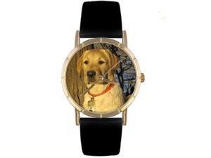 Yellow Labrador Retriever Black Leather And Goldtone Photo Watch #P0130081