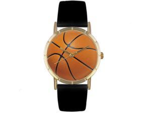 Basketball Lover Black Leather And Goldtone Photo Watch #P0840005