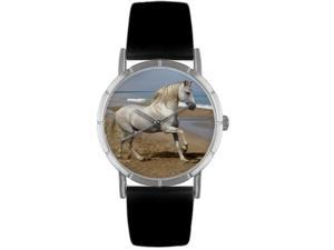 Andalusian Horse Black Leather And Silvertone Photo Watch #R0110021