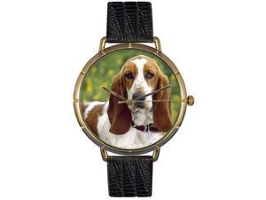 Bassett Hound Black Leather And Goldtone Photo Watch #N0130078