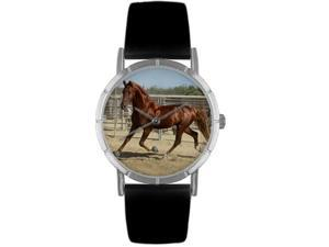 American Saddlebred Horse Black Leather And Silvertone Photo Watch #R0110024