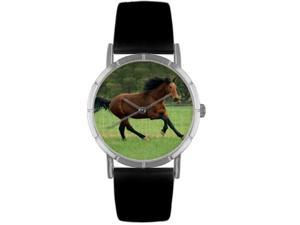 Holsteiner Horse Black Leather And Silvertone Photo Watch #R0110028
