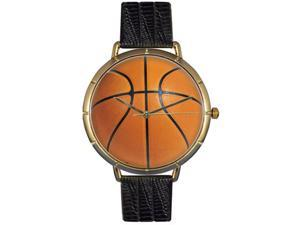Basketball Lover Black Leather And Goldtone Photo Watch #N0840005