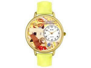 Whimsical Watches G0450001 Sewing Yellow Leather And Goldtone Watch