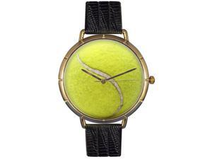 Tennis Lover Black Leather And Goldtone Photo Watch #N0840011
