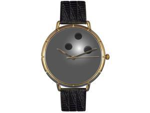 Bowling Lover Black Leather And Goldtone Photo Watch #N0840013