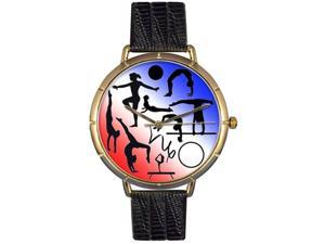 Gymnastics Lover Black Leather And Goldtone Photo Watch #N0840024