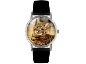 Bengal Cat Black Leather And Silvertone Photo Watch #R0120043