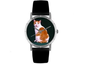 Manx Cat Black Leather And Silvertone Photo Watch #R0120045