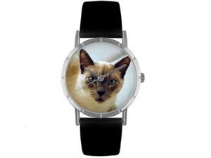 Siamese Cat Black Leather And Silvertone Photo Watch #R0120055