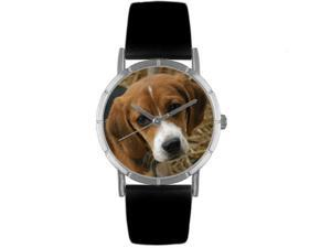 Beagle Black Leather And Silvertone Photo Watch #R0130007