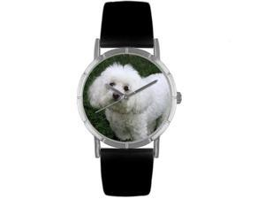 Bichon Black Leather And Silvertone Photo Watch #R0130010