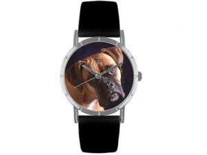 Boxer Black Leather And Silvertone Photo Watch #R0130014