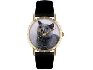 Russian Blue Cat Black Leather And Goldtone Photo Watch #P0120029
