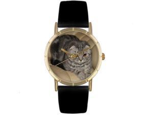 Whimsical Watches P0120031 Scottish Fold Cat Black Leather And Goldtone Photo Watch