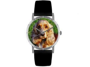 Cocker Spaniel Black Leather And Silvertone Photo Watch #R0130027