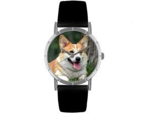 Corgi Black Leather And Silvertone Photo Watch #R0130029