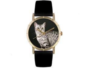 Egyptian Mau Cat Black Leather And Goldtone Photo Watch #P0120041
