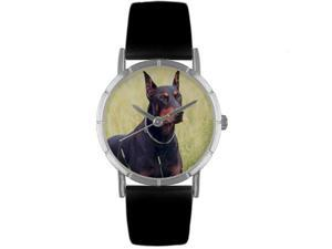 Doberman Black Leather And Silvertone Photo Watch #R0130035