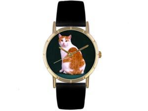 Manx Cat Black Leather And Goldtone Photo Watch #P0120045