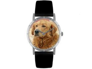 Golden Retriever Black Leather And Silvertone Photo Watch #R0130042