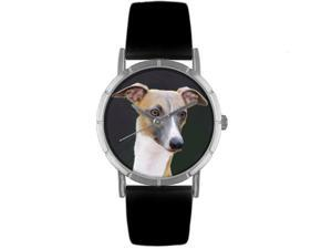 Greyhound Black Leather And Silvertone Photo Watch #R0130046